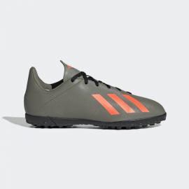 Zapatillas fútbol adidas X19.4 TF verde/naranja junior