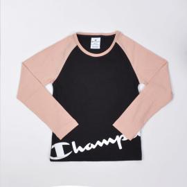 Camiseta Champion cuello caja 403667 negro/salmón niña