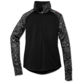 Camiseta running Brooks Dash 1/2 cremallera negro/gris mujer