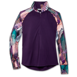 Camiseta running Brooks Dash 1/2 cremallera morado mujer