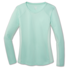 Camiseta running Brooks Stealth Long Sleeve verde agua mujer