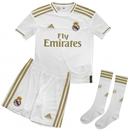 Conjunto fútbol adidas Real Madrid 1ª 2019/20 blanco junior