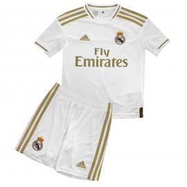 Conjunto fútbol adidas Real Madrid 1ª 2019/20 blanco niño