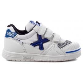 Zapatillas fútbol Munich G-3 velcro 69 blanco/azul niño