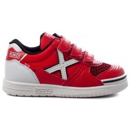 Zapatillas fútbol Munich G-3 velcro 68 rojo/blanco niño