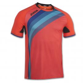 Camiseta running Joma Élite V coral flúor/azul junior