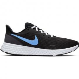 Zapatillas Nike Revolution 5 (GS) en negro y azul para junior, ideal para correr en el dia a dia. Posee una malla ligera y elás