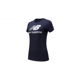 Camiseta New Balance Essential Stacked Logo azul mujer