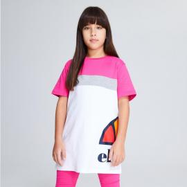 Camiseta Ellesse Xelio blanco/gris/rosa niña