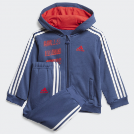 Chándal adidas Hooded Fleece azul/rojo bebé
