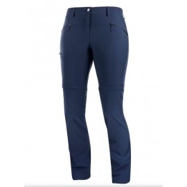 Pantalón outdoor Salomon Wayfarer Straight Zip azul mujer