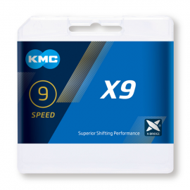 Cadena Kmc X9 plata 114 eslabones 9 velocidades