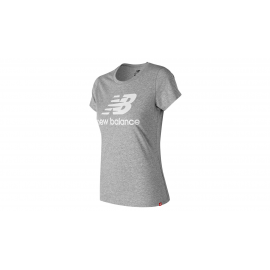 Camiseta New Balance Essential Stacked Logo gris mujer