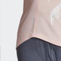 Camiseta running adidas Run It Fast 3 bandas salmón mujer