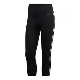 Leggings 3/4 adidas D2M 3 Stripes negro/blanco mujer