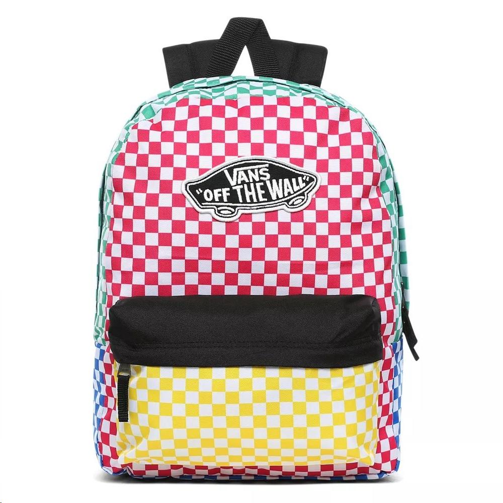 Moda Personas mayores guirnalda  Mochila Vans Realm Backpack cuadros colores - Deportes Moya